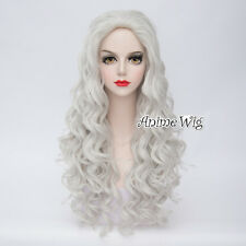 Lolita 70CM Long Silver White Curly Hair Wig Women Fashion Cosplay Halloween