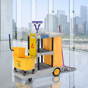 Hotel Cleaning Trolley Laundry Small Trolley Janitorial Housekeeping Cart Bucket