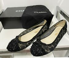 New listing Authentic Chanel Logo Ballerines Black Tweed Cap Toe Flats Shoes Size 37.5, Us 7