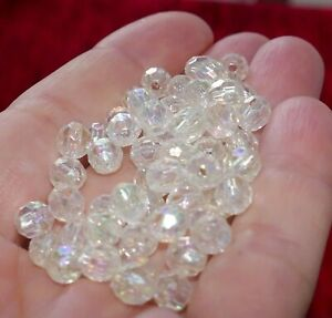 100x Transparent AB Rondelle Faceted Acrylic 6mm Plastic Spacer Beads C203