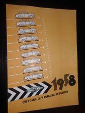 Brochure SALES WARTBURG Accessori NOTIZIE synchronisierte TRASMISSIONE 1958