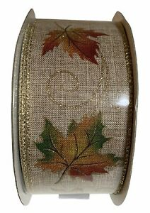 "Fall Autumn Ribbon 2.5"" x 50 yards Falling Leaves Leaf Wire Edge Wreath Craft"
