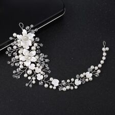 Elegant Pearl Acrylic Flower Crystal Bride Tiaras Hairband Wedding Jewelry Gifts