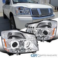 For Nissan 04-15 Titan Armada Clear LED DRL Halo Projector Headlights Head Lamps