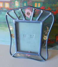 Vintage LEADED GLASS PICTURE FRAME w/under glass dried flowers