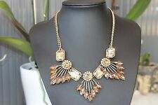 FLOWER GOLDEN ROD GLASS RHINESTONE FASHION CHUNKY STATEMENT BIB NECKLACE