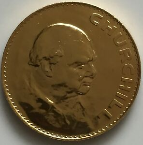1965 Five Shillings-Winston Churchill Memorial Gold-Plated-24 Carat Gold