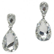 Clear Earrings Dangly Drop Prom Bridal Jewellery Silver Tone Sparkly -0211s
