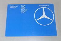 Betriebsanleitung / Handbuch Mercedes W123 200 / 230 / 230 C / 250 von 1980