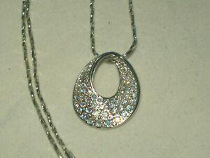 Swan signed Swarovski AB Crystals Silver Tone Pendant Necklace