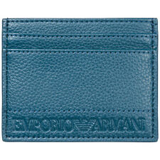 EMPORIO ARMANI MEN'S GENUINE LEATHER CREDIT CARD CASE HOLDER WALLET BLUE EFB