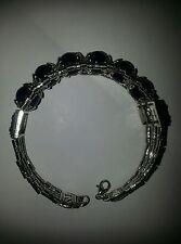 Bracelet/Earrings set Tibet Silver Plated Black Rhodonite Bracelet- gorgeous