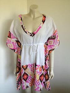 White Pink Cotton Kimono Gypsy Festival BoHo Blouse Size 10