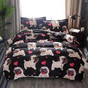 Bedding Set Duvet Quilt Cover Pillowcases Bedroom Queen Size 3D Cute Dogs