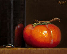 -Still Life with Persimmon and Temmoku Bottle- painting by Abbey Ryan