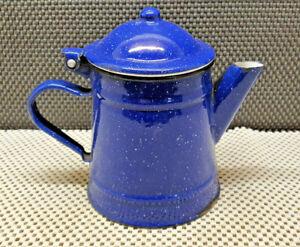 Antique Teapot Enamelled Blue Interior White Deco Collection Vintage