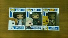 Set 3pcs Funko Pop Star Wars BLUE BOX Princess Leia Luke Bossk FREE 3 protectors