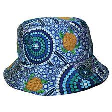 Australia Souvenir Indigenous Aboriginal Art Bucket Hat Colours Sea Reef Turtle