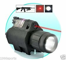 Combo CREE Flashlight+Red Laser/Sight picatinny Weaver Rail For Pistol/Gun #k01