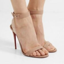 Christian Louboutin Jonatina Nude Leather PVC Ankle Strap Sandals Sz 36.5 795.00