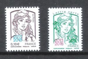 Marianne & jeunesse: 0,10€ + vert  surchargé 2013-18 neuf Luxe** MNH