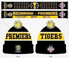 SET OF 2 RICHMOND TIGERS 2017 PREMIERS TEAM LOGO PATCH BEANIE & SCARF
