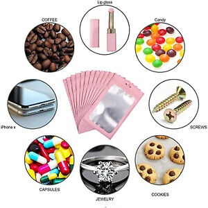 100Pcs Resealable with Aluminum Foil Pouch Smell Proof Bag For Food Storage