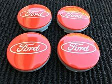 4x RED  FORD FITS MOST NEW MODELS 54MM ALLOY WHEEL CENTRE CAPS 80