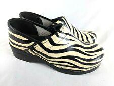 Dansko Zebra Print Patent Leather Professional Clogs Shoe Women's Size 41 / 10