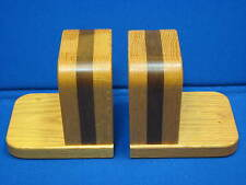 2 Handmade Wooden Bookends Pair Set Wood Book End Holder Library Decorative Ooak