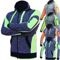 Hi Vis Fleece Jacket Full Zip Hoodie Jumper Panel with Piping Body Dark Marble