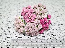 50 Mixed Pink Mulberry Paper Roses - 1 cm / 10 mm