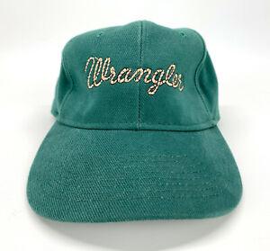 Vintage Wrangler Embroidered Rope Font Leather Strapback Baseball Hat Cap USA