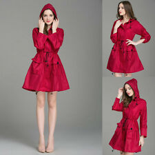 Women Girl Dot Hooded Waterproof Breathable Travel Raincoat Rain Coat