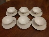 6 SETS OF CROWN JEWEL FINE CHINA BAVARIA GERMANY SILVER MOON CUPS & SAUCERS Mint