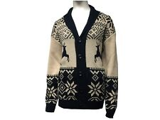 Women Ladies Christmas Button Top Chunky Aran Cable Knitted Grandad Cardigan