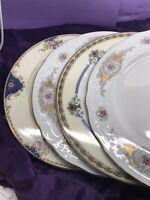 Mismatched China Dinner Plates Vintage ~ Set of 4 ~ Colorful Florals