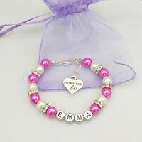 New name Personalised Girl baby Birthday Christmas Gift Charm Bracelet Daughter