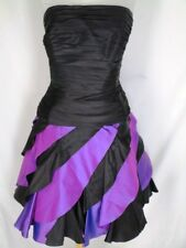 Tadashi Black Purple Party Prom Dress 10 Ruched Ruffled Strapless Flounced