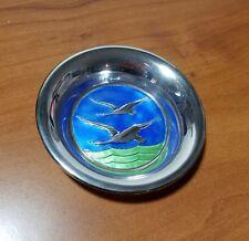 """Vintage Norway NM THUNE Sterling Silver Enamel Geese Miniature 4"""" Plate"""
