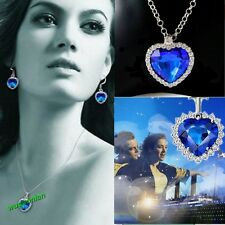 Hot Sale Titanic Heart Of Ocean Blue Rhinestone Necklace Silver Plated Necklace