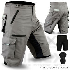 MTB Cycling Short off Road Cycle With Liner Shorts Coolmax Padded Grey M L XL 2xl