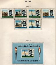 Qatar Scott 101-102A,102b Kennedy Perf. & Imperf sets and S. Sheet Mint Hinged
