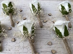Vintage Artificial Ivory Rose Buttonhole Rustic Hessian Wedding Flowers X1
