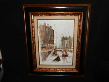 Vintage Oil on Canvas Painting Canal City Architecture Quality Frame Signed Arth