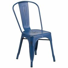 Tolix Replica Metal Distressed Navy Blue Outdoor Restaurant Stacking Chairs