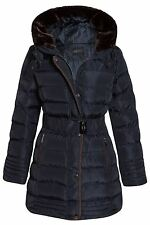 Womens Faux Fur Trim Hooded Quilted Padded Warm Long Belted Winter Coat Navy UK 12