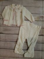 Vintage Knit Baby Girl White Rosebud Outfit