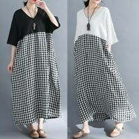 Lady Linen Cotton Short Batwing Sleeve Check Loose Dress Black White Gingham New