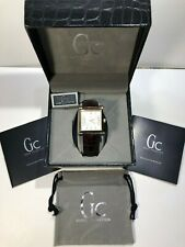 Guess Collection GC9000 Watch Gold  Silver WHITE DIAL WITH BROWN LEATHER STRAP